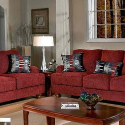 Chelsea Home Furniture - Bank Roll Red Sofa, Loveseat and Chair - 5700-SLC-BRR - Dacron Wrapped Cushions