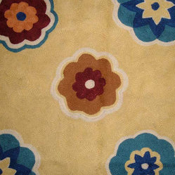 Crewel Rug Phallgam Cream Chain Stitched Wool Rug (4x6FT)