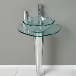 "Fresca - Fresca Netto 24"" Modern Glass Bathroom Vanity w/ Wavy Edge Vessel Sink - This innovative vanity of chrome hardware and glass basin will compliment any space with its deceptively simple enhancements. A single stand core allows for extra home storage and a clear basin with a wavy edge."