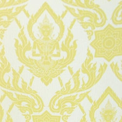 Bijou Coverings - Thai Buddha Textured Decorative Wallpaper, Yellow - This beautiful Thai Buddha inspired textured decorative wallpaper by Bijou Coverings  can transform a room quickly and easily. In today's world, wallpaper is the hip new approach to cover your walls, a way to express your individuality and personal taste. You can wallpaper all four walls or just even an accent wall. Our patterns consists of being fresh and modern with great textures. We have an option for all tastes. Our wallcoverings are washable for stability and ease of use.
