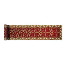 Wool and Silk XL Runner Rajasthan 3'x16' Oriental Hand Knotted Rug SH14677 - Agra & Rajasthan Hand Knotted Rugs have Persian inspired floral motifs.  They are hand knotted from India and usually consists of 100% Wool.  The colors usually consists of Blacks, Deep Reds, Browns, & Greens.