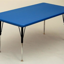 Correll Inc - Rectangular Activity Table in Blue (30 in. x - Finish: 30 in. x 72 in./Short/BlueResist stains and damage from food, juices, crayons, paint, and even permanent markers. Light weight, scratch and impact resistant. Colors go all the way through. Not wear or scrape off. Free standing, full perimeter welded steel frames. Legs attach to frames with 3 bolts each. Free speed wrench for fast height adjustments. Standard legs adjust from 21 in. to 30 in. in 1 in. increments. Short legs adjust from 16 in. to 25 in. in 1 in. increments. Pictured in Blue. 30 in. W x 60 in. L. 30 in. W x 72 in. L