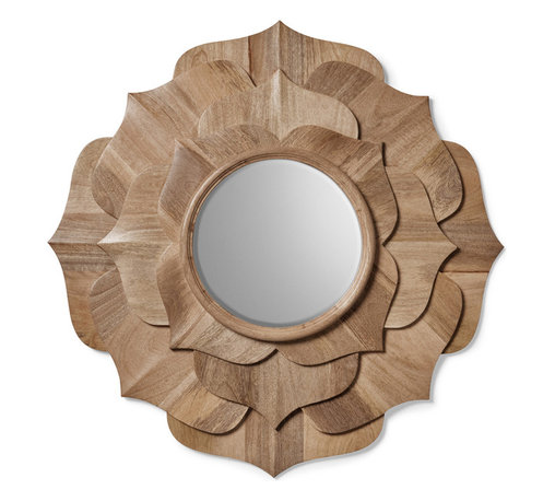 """Kathy Kuo Home - Hand Carved Solid Wood Contemporary Lotus Petal Mirror - The lotus is an enduring symbol of beauty and the ability to rise up and above the """"mud"""" of life's problems. In this beautifully carved mirror, the eternal quality of this sacred flower is captured with precision and delight.  Echoing a rosette shape, this round mirror could easily be incorporated into contemporary spaces or more traditional ones with ease."""