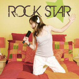 """Alphabet Gardens - Rock Star Wall Decal - Whether you have a budding star or just an adoring fan in your house, give a room rock out appeal with this rock star decal. Easy to apply and remove without damaging the surface, this wall decal is a fast simple way to lend artful color and dimension to your decor. Unlike other vinyl and stickers, this wall transfer is crafted from the highest quality thin vinyl in a matte finish to create a hand painted look. Use the pre-spaced design or let your imagination be the guide, as you can position and overlap individual parts of this design to create your own look. The one application transfer can be placed indoors or outdoors on a on wall, mirror, window or other smooth space. Made in the USA toxin-free. Color choice 1: text (pictured chocolate brown). Color choice 2: star graphic (pictured lime green). Shown 22""""H, available in several sizes as measured from top to bottom of entire designWe recommend adding a proof so you can see and approve a JPG image of your personalized design in the colors you have chosen before it is cut. Personalized decals are created by Alphabet Garden Designs."""