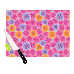"""Kess InHouse - Julia Grifol """"My Pink Garden"""" Cutting Board (11"""" x 7.5"""") - These sturdy tempered glass cutting boards will make everything you chop look like a Dutch painting. Perfect the art of cooking with your KESS InHouse unique art cutting board. Go for patterns or painted, either way this non-skid, dishwasher safe cutting board is perfect for preparing any artistic dinner or serving. Cut, chop, serve or frame, all of these unique cutting boards are gorgeous."""