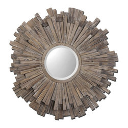 """Grace Feyock - Grace Feyock Vermundo Framed Wall Mirror X-43670 - Wide, 14"""" wood frame with a light walnut stain with burnished details. Mirror is beveled."""