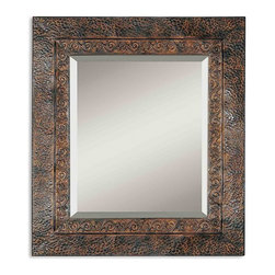 """Uttermost - Jackson Distressed Rust Brown Rectangular Mirror - This rustic metal frame features a brown finish with rust and black undertones.  The inner lip has a fluer-de-lis detail and outer edge has a dented appearance. Frame Dimensions: 34""""W X 30""""H X 0.75""""D; Mirror Dimensions: 24""""W X 20""""H; Finish: Distressed Dark Rust Brown with a Light Rust Brown Undercoat; Material: Metal; Beveled: Yes; Shape: Rectangular; Weight: 24 lbs; Included: Brackets, Ready to Hang Vertically or Horizontally; Shipping: Free Shipping via UPS 7 - 10 Business Days"""