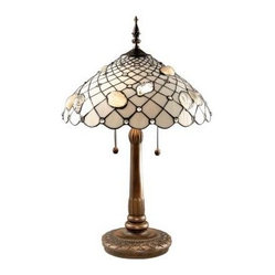 Brass Lamps: 26 in. Seashell Dark Antique Brass Table Lamp TT60055