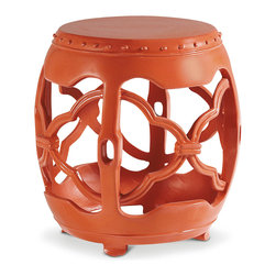 Baker Furniture - Macao Seat - Cast from resin, the Macao Seat was used extensively in Duquette's installations.  Duquette loved the versatility of the design, which easily adapted from seating to a table wherever needed.   He painted them in brilliant coral or stark white for just a pop of color.  The drum-shaped form has a solid top above a scalloped apron supported by four vertical members that carry to the lower base.  A scrolled latticework design decorates the open sides.  The stool is raised on small bun feet.  Keeping true to the original, Baker chose Coral or Pearl Lacquer to complete the piece.  Circa 1960.