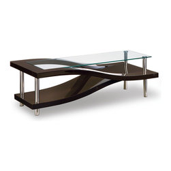 "Global Furniture - 759WC Coffee Table in Wenge - 759WC Coffee Table Features: Top - color: clear, material: glass;Base - color: wenge with silver legs, material: MDF, paper veneer,chrome;Weight: 84 lbs.;Dimensions: L50"" / D28"" / H17"""