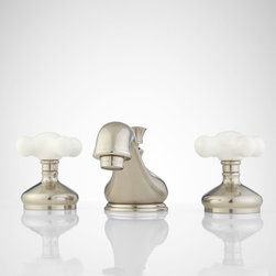 Teapot Widespread Bathroom Faucet - Large Porcelain Cross Handles - Brimming with charm, the Teapot Widespread faucet features porcelain cross handles, wide escutcheons and a curvaceous spout, making it look and feel especially luxurious.
