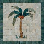 Palm Tree Mosaic Insert - Fiorano Tile Showrooms is a family owned and operated business that has been serving the Long Island / NY Tri-State area since 1977.