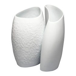 MarlaDawn - Hugging Vases, Acorn & Leaf Relief - For the romantic flower lover - curvaceous and sculptural vases have a bold presence to show off your garden's bounty.  Sold in a set of two as shown with a relief pattern on the nested vase and a smooth finish on the wider vase.