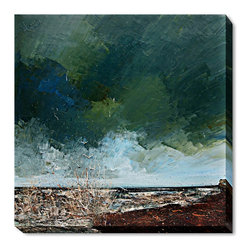 overstockArt.com - Kopania - Sea - Sea is a beautiful image of waves smashing on the rocks over and over again. The blue and the green color of the sky will bring peace and deep calm in every room. Enjoy its beauty and color reproduced as a fine canvas print. Justyna Kopania is from Warszawa, Poland. In her words when she paints she tries to show the 'world', which could be seen by looking at reality that surrounds us, from another perspective, unusual, remote, sometimes through the eyes of the child, sometimes music, composer, or someone who looks lichen on the sea, the moon , the sky and the stars ..., the river ... looks out the window and looks out into the street. Walking down the street looking at people's faces. In rain, snow or fog. Perhaps the world that surrounds us really is quite different than we perceive it every day.