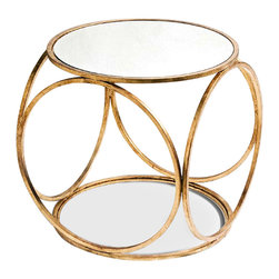 Kathy Kuo Home - Orbital Gold Leaf and Mirror Contemporary Side Table - Finally, a unique end table that will suit your sense of panache! An open iron frame covered by gold leaf and topped with glass recalls glamorous Hollywood Regency Style, but it would also look right at home in a contemporary space, midcentury modern room, amongst art deco pieces or art nouveaux paintings. A table so matchless in style will satisfy your craving for antiques while appealing to your modern love of light and space.