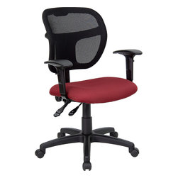 Flash Furniture - Flash Furniture Mid-Back Mesh Task Chair with Burgundy Fabric Seat and Arms - Upgrade your standard mesh office chair with this multi-functional version. When you need more adjusting capabilities than your standard office mesh chair this will exceed your expectations. The breathable mesh back keeps you cool when sitting for long periods of time. The firm, comfortably padded seat will keep you at ease during work or while leisurely browsing. Whatever your need this chair will perform for you! [WL-A7671SYG-BY-A-GG]