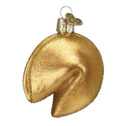 Fortune Cookie Takeout Blown Glass Christmas Ornament - This gold glittered fortune cookie ornament is fun and chic.