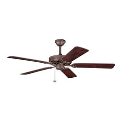 """BUILDER FANS - BUILDER FANS Sterling Manor 52"""" Transitional Ceiling Fan X-ZT010933 - Earthy tones give this Kichler Lighting ceiling fan a warm, elegant appeal. From the Sterling Manor Collection, this fan effortlessly blends a warm Tannery Bronze hue with reversible teak/cherry fan blades for a custom look."""