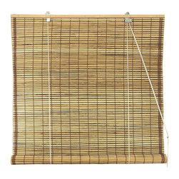 Oriental Furniture - Burnt Bamboo Roll Up Blinds - Tortoise 72 Inch, Width - 72 Inches - - Burnt bamboo roll up blinds are a versatile addition to any window.  They will fit in with any decor and are available in a wide variety of sizes.   Easy to hang and operate.  Available in five sizes, 24W, 36W, 48W, 60W and 72W.  All sizes measure 72 long. Oriental Furniture - WT-YJ1-5E-72W