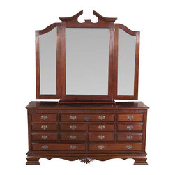 MBW Furniture - Solid Mahogany 7 Drawer Chest Vanity Dresser w/ 3 Beveled Mirrors - Solid Mahogany Construction