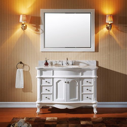 VIRTU - Virtu USA Norhaven 48 inch Single Sink White Vanity with Italian Carrara White M - Virtu USA Norhaven 48 inch single sink vanity provides glam where classy meets sexy. The construction of solid oak wood gives the security of durability. The two soft closing doors,six soft closing drawers,and miirror gives off a seductive set.