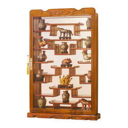 China Furniture and Arts - Rosewood Wall Curio Display Cabinet - Completely hand carved of solid rosewood. This unique wall curio cabinet displays up to 20 collectibles with approximately 4-inch space between shelves. Glass front door and mirrored back with hand applied natural finish frames. Wall mounting hardware included. (Assembled.) Displayed items not included.