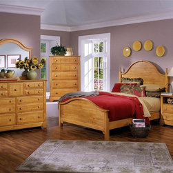 Vaughan Bassett - 5 Pc Panel Bedroom Set in Pine Finish (Easter - Choose Bed Size: Eastern KingIncludes panel bed, commode, chest, triple dresser and landscape mirror. Pine finish. Assembly required. Commode:. 2 Drawers. 1 Open shelf. 28 in. W x 16 in. D x 29 in. H. Chest:. 5 Drawers. 38 in. W x 18 in. D x 54 in. H. Triple dresser:. 9 Drawers. 58 in. W x 18 in. D x 44 in. H. Landscape mirror: 42.5 in. L x 2 in. W x 38 in. H. Panel bed:. Full Size:. Includes panel headboard, panel footboard and wood rails with 3 1-inch slats. Panel headboard: 63 in. L x 2 in. W x 62 in. H. Panel footboard: 65 in. L x 2.5 in. W x 29 in. H. Wood rails: 76 in. L x 6 in. W x 1 in. H. Queen Size: . Includes panel headboard, panel footboard and wood rails with 3 1-inch slats. Panel headboard: 63 in. L x 2 in. W x 62 in. H. Panel footboard: 65 in. L x 2.5 in. W x 29 in. H. Wood rails: 82 in. L x 6 in. W x 1 in. H. Eastern King Size:. Includes panel headboard, panel footboard and wood rails with 6 1-inch slats. Panel headboard: 80 in. L x 2 in. W x 62 in. H. Panel footboard: 82 in. L x 2.5 in. W x 29 in. H. Wood rails: 82 in. L x 6 in. W x 1 in. H. California King Size: . Includes panel headboard, panel footboard and wood rails with 6 1-inch slats. Panel headboard: 80 in. L x 2 in. W x 62 in. H. Panel footboard: 82 in. L x 2.5 in. W x 29 in. H. Wood rails: 86 in. L x 6 in. W x 1 in. H