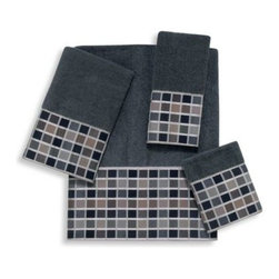 Avanti - Avanti Kaleidoscope Bath Towel in Granite - The Kaleidoscope Granite Towel Collection will bring a simple and contemporary update to your bathroom. A geometric fabric trim in gray, black and neutral tones complements a rich granite towel.