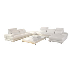 VIG Furniture - Charlie - Contemporary White Leather Sectional Sofa - Charlie - Contemporary White Leather Sectional Sofa set is available in stock. Other variations can also be ordered upon special request. The sectional set includes all sofa pieces with pillows, Ottoman (corner) and corner metal frame table with glass top.