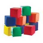 "ECR4Kids - Softzone Patchwork Toddler Blocks, Set of 12 - A set of 12 soft toddler blocks, designed just for tender, hands and feet! Made of colorful vinyl cover and furniture-grade foam base, playtime can be safe and stimulating for even the youngest children. Encourages manual manipulation and color recognition.Style Notes: Includes (2) each of 6 Primary colors: Red, Yellow, Blue, Green, Orange, and Purple. Age Level: Pre-School.Assembled Weight: 4.50 Lbs.Assembled Dimensions: 5.50"" x 5.50"" x 5.50"".Other Dimensions: 5.5"" Cube."