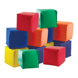 """ECR4Kids - Softzone Patchwork Toddler Blocks, Set of 12 - A set of 12 soft toddler blocks, designed just for tender, hands and feet! Made of colorful vinyl cover and furniture-grade foam base, playtime can be safe and stimulating for even the youngest children. Encourages manual manipulation and color recognition.Style Notes: Includes (2) each of 6 Primary colors: Red, Yellow, Blue, Green, Orange, and Purple. Age Level: Pre-School.Assembled Weight: 4.50 Lbs.Assembled Dimensions: 5.50"""" x 5.50"""" x 5.50"""".Other Dimensions: 5.5"""" Cube."""