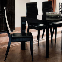 Rossetto - Nightfly Ebony Wood Chairs - Set of 2 - Divine ergonomic design elements that combines comfort with style, the Eco leather effects on the chair seat and back is matched only by the inky black finish in these modern dining chairs. Made in Italy, the smooth design is inviting and comfortable. Two chairs per order, this is a perfect choice for the Rossetto Italian dining tables.