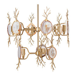 Kathy Kuo Home - Branch Satin Brass Natural Agate Stone 2 Tier 9 Light Chandelier - Like a relic from the palace of Narnia's ice queen, this natural agate polished brass chandelier has a cool, irresistible beauty. Each of the six agates is a natural piece and therefore variations in colors and patterns should be expected.