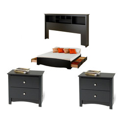 Prepac Furniture - Prepac Sonoma Black 4PC Bedroom Set (King Bed, Two Nightstands and Bookcase Head - The practical, Sonoma Black 4 Pcs Bedroom Set (King Bed, Two Nightstands and Bookcase Headboard) by Prepac Furniture will be the perfect addition to a bedroom with a country, contemporary or traditional decor. Six large drawers positioned below the King Platform Storage Bed with 6 Drawers in Black are for clothing, linens, blankets, magazines, etc. Extra deep drawers run on smooth, all-metal roller glides with built-in safety stops. This bed is made of melamine laminate and composite wood, easy to clean and ready to assemble. It has profiled moldings. The drawers open easily with finger-pulls on the bottom of the drawer fronts. This modern King Bookcase Headboard can be used with any king sized bed frame or is an ideal companion with Prepacs platform storage beds. This headboard is made from composite woods with an attractive MDF top and moldings. Sonoma Black 2 Drawer Night Stand features include a profiled top, arched kick plate, solid brushed nickel knobs and drawers that run on smooth, all-metal roller glides with built-in safety stops. It is made from durable composite woods, and has no plastic edgebanding.