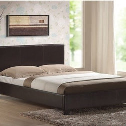 Hazelwood Home - Faux Leather Panel Bed - Features: -Faux leather construction.-Distressed Dark brown finish.-Distressed: Yes.Dimensions: -Overall Product Weight: 84.28 lbs.Warranty: -Manufacturer provides 1 year warranty.