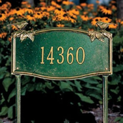 Whitehall Vine/Chickadee 1 Line Standard Lawn Garden Plaque - About WhitehallWhitehall is the world's largest manufacturer of weathervanes, but the business points a lot more ways than east, west, north, and south. Inspired by traditional handcrafted designs and quality, Whitehall also makes gorgeous mailboxes, address plaques, and outdoor accents. They're based in western Michigan, building American tradition and quality into every product they make.