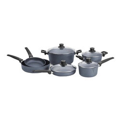 "Woll - Woll Diamond Plus 10-Piece Cookware Set - Health Conscious: Woll Diamond Plus' non-stick coating makes for health-conscious, vitamin-friendly cooking. WOLL professional cast products allow you to prepare food with little or even no fat"" and no sticking!PFOA free, metal utensil, oven, and Dishwasher safe.Sturdy: The surface finish ensures a long life: WOLL professional cast products are resistant to cuts and abrasion.Optimal: WOLL professional cast products display optimal thermal absorption and heat distribution. The extra-strong, cast bottom prevents distortion, even at extreme temperatures.Set Includes:      (01) 8"" Open Fry Pan     (01) 9.5"" Fry pan & Lid     (01) 2.1 qt. Sauce Pan & Lid     (01) 3.2 qt. Sauce Pot & Lid     (01) 6.3 qt. Soup Pot & Lid     (01) 11"" Open Saute PanGuarantee: 25-year guarantee on surface evenness, as well as 3 years on the coating and handles. Constant quality checks ensure this high standard."