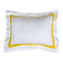 Yellow Border Boudoir Sham - Hello, my name is Maria Fe and I'm a pillow addict. I have six pillows on my bed — not counting the decorative pillows. This sham is one of my favorites. It's so chic.