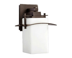 Quorum Lighting - Outdoor Wall Light With White Glass - 11-1/4-Inches Tall - 7200-8-86 - Oiled bronze finish outdoor wall light with opal rectangle white glass shade. Takes (1) 100-watt incandescent A19 bulb(s). Bulb(s) sold separately. UL listed. Wet location rated.