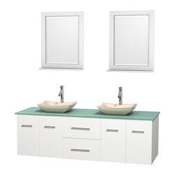 """Wyndham Collection - Centra 72"""" White Double Vanity, Green Glass Top, Avalon Ivory Marble Sinks - Simplicity and elegance combine in the perfect lines of the Centra vanity by the Wyndham Collection. If cutting-edge contemporary design is your style then the Centra vanity is for you - modern, chic and built to last a lifetime. Available with green glass, pure white man-made stone, ivory marble or white carrera marble counters, with stunning vessel or undermount sink(s) and matching mirror(s). Featuring soft close door hinges, drawer glides, and meticulously finished with brushed chrome hardware. The attention to detail on this beautiful vanity is second to none."""