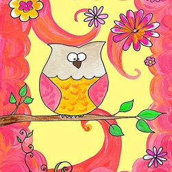 Oh How Cute Kids by Serena Bowman - Owl In Pink Swirl, Ready To Hang Canvas Kid's Wall Decor, 8 X 10 - Each kid is unique in his/her own way, so why shouldn't their wall decor be as well! With our extensive selection of canvas wall art for kids, from princesses to spaceships, from cowboys to traveling girls, we'll help you find that perfect piece for your special one.  Or you can fill the entire room with our imaginative art; every canvas is part of a coordinated series, an easy way to provide a complete and unified look for any room.