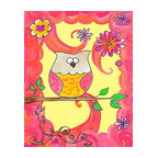 Oh How Cute Kids by Serena Bowman - Owl In Pink Swirl, Ready To Hang Canvas Kid's Wall Decor, 20 X 24 - Each kid is unique in his/her own way, so why shouldn't their wall decor be as well! With our extensive selection of canvas wall art for kids, from princesses to spaceships, from cowboys to traveling girls, we'll help you find that perfect piece for your special one.  Or you can fill the entire room with our imaginative art; every canvas is part of a coordinated series, an easy way to provide a complete and unified look for any room.
