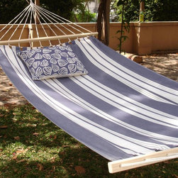 Magnolia Casual Hammocks - Magnolia Casual Marina Stripe Fabric Hammock - MA170SL - Shop for Hammocks from Hayneedle.com! Additional features Overall hammock length: 13 ft. 6 in. Wood spreader bar is attached to 100% polyester rope Optional pillow measures 19W x 24L inches Pillow has 2 ties for attaching to hammock Pillow has zipper for easy cover removal Pillow cover is machine washable Pillow insert is 100% polyester Hammock includes a coordinating storage sleeve with shoulder strap Hanging hardware sold separately Bring some East Coast beach flavor to your own backyard with this nautically striped hammock. This single layer fabric hammock has the beneficial look and feel of cotton though it is actually constructed of sundure polyester threads which make it more breathable than quilted hammocks. Its polyester material is also weather- mildew- and fade-resistant. The rope strings are longer at the center of the hammock creating a slightly cupped surface that is harder to tip. Go pillow-less and enjoy the comfort of the hammock by itself or choose between two blue and white patterned pillows. The Summer Toile Blue Pillow features a bold blue background and white flowers and vines while the Clam Shells Pillow also features a blue background with a fun white clam pattern. About Magnolia Casual HammocksMagnolia Casual sweeps you off your feet and into the relaxation zone by offering a wide variety of hammocks and swings along with complementary comfortable pillows manufactured from fade- and mildew-resistant polyester that holds up well to outdoor use. Based in Pascagoula Miss. Magnolia Casual's Sundure Fabrics are colorful and the hammocks and swings are built for durability and years of enjoyment. The company also offers shower and hamper curtains that will brighten your home.