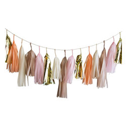 Paper Fox LA - Dakota Tassel Garland - The colors are cream, light pink, peach, shimmering champagne and metallic gold. Perfect for birthdays, baby showers, bridal showers, mother's day, nursery decor, home decor and more!