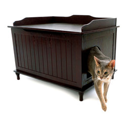 Designer Pet Products - Designer Catbox Litter Box Enclosure - Hide your kitty litter box and welcome an attractive piece of usable furniture into your home. The nontoxic, painted wood litter box enclosure will minimize odor and prevent litter from being sprayed out onto the floor. Your cat will find this a cozy spot and you can use the top part as a staging area or boot seat for your mudroom or entryway.