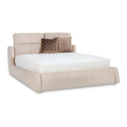 Zuri Furniture - Villa Leather Platform Bed - King - Beige - Take style and comfort into the bedroom with the Villa bed. It's adjustable aniline top grain leather headboard makes it ideal for lounging, reading or watching TV in bed, what more could you ask for?