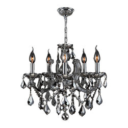 Worldwide Lighting - Catherine Collection 5 Light Chrome Finish & Chrome Crystal Chandelier CLEARANCE - This stunning 5-light Crystal Chandelier only uses the best quality material and workmanship ensuring a beautiful heirloom quality piece. Featuring a radiant chrome finish and finely cut premium grade chrome plated crystals with a lead content of 30%, this elegant chandelier will give any room sparkle and glamour. Worldwide Lighting Corporation is a premier designer manufacturer and direct importer of fine quality chandeliers, surface mounts, and sconces for your home at a reasonable price. You will find unmatched quality and artistry in every luminaire we manufacture.