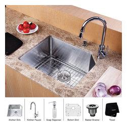Kraus - Kraus 23 inch Undermount Single Bowl Stainless Steel Kitchen Sink with Chrome Ki - *Add an elegant touch to your kitchen with unique Kraus kitchen combo