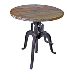 """Iron and Wood Crank Pub Table - Vintage Industrial Furniture from Tres Amigos Furniture. This Industrial Style Reclaimed Wood Crank Table is crafted from iron and distressed hardwood and a solid iron crank base. The height is adjustable! Just a turn of the crank and the table adjusts from 30"""" to 42"""" high! The hand crafted nature of this imperfect piece of furniture will bring years of enjoyment and versatility to your home design style. See more items from this collection."""