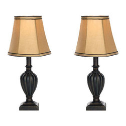Safavieh Home Furniture - Mini Table Lamp Bavaria Cream Round Bell Shade - Set of Two - - The Mini Table Lamp with bavaria beige round bell shade (set of 2) is sure to brighten up your house. These lamps feature traditional brown curved base and accents.  - Please note this item has a 30-day manufacturer's limited warranty that covers product defects. Inspect your purchase upon delivery and notify us immediately with any concerns. Safavieh Home Furniture - LIT4027A-SET2